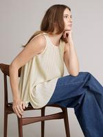 Kadın Krem Kolsuz Pileli Bluz