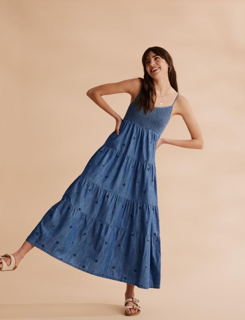 Kadın Lacivert İşlemeli Denim Midi Elbise