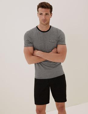 Erkek Siyah Pamuklu Çizgili T-Shirt