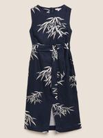 Kadın Lacivert Keten Desenli Midi Elbise
