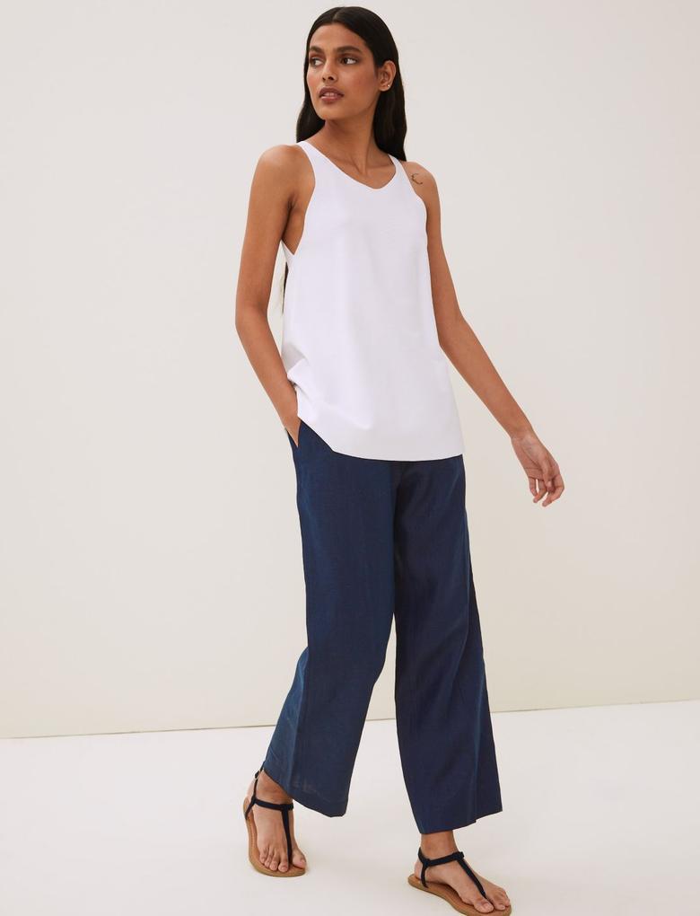 Kadın Lacivert Keten Straight Leg  Pantolon