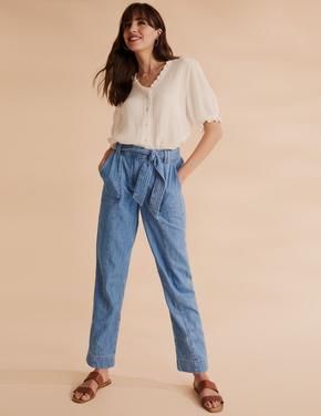 Kadın Lacivert Saf Pamuk Tapered Pantolon