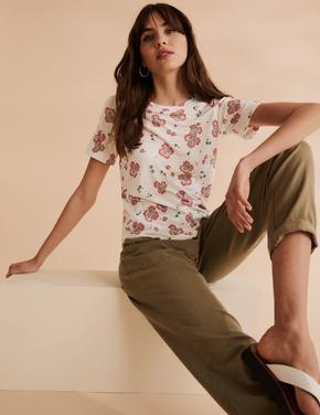 Kadın Krem Keten Çiçek Desenli T-Shirt