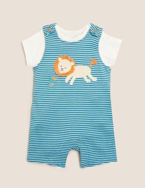 Bebek Mavi 2'li Aslan Baskılı Tulum Seti