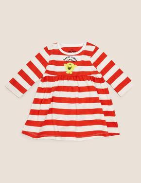 Bebek Kırmızı Saf Pamuk Mr. Men™ Çizgili Elbise (Yenidoğan-3 Yaş )