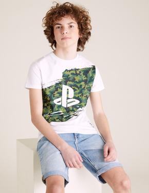 Erkek Çocuk Beyaz Pamuklu  PlayStation™  Kamuflaj Desenli T-Shirt