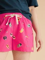 Kadın Pembe Saf Pamuklu Havuz Baskılı Pijama Şort