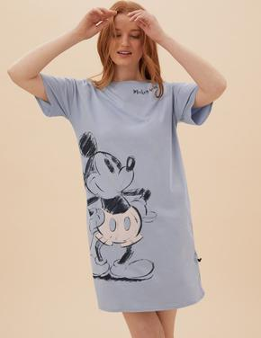 Kadın Mavi Mickey Mouse™ Pamuklu Kısa Gecelik