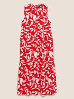 Kadın Kırmızı Desenli Uzun Elbise