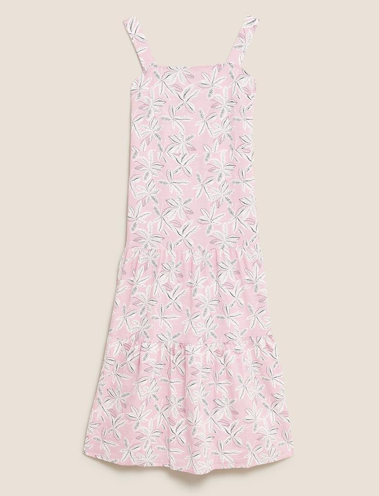 Kadın Pembe Askılı Midi Elbise