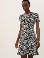 Kadın Siyah Desenli Kısa Kollu Elbise