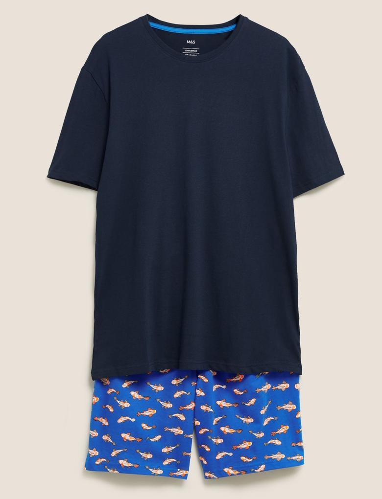 Erkek Mavi Saf Pamuk Japon Balığı Desenli Pijama Takımı