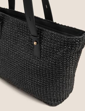Kadın Siyah Hasır Çanta