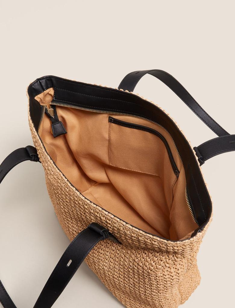 Kadın Krem Hasır Çanta