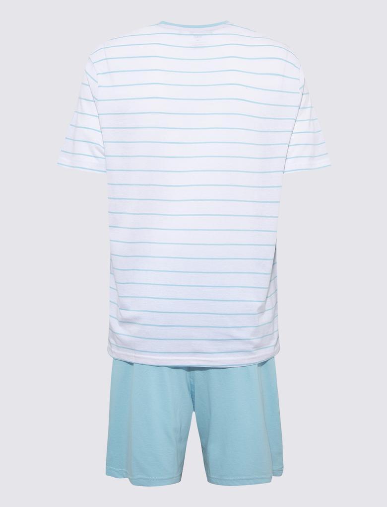 Erkek Mavi Saf Pamuk Çizgili PijamaTakımı