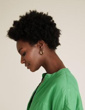 Kadın Yeşil Keten V Yaka Bluz