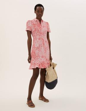 Kadın Krem Çiçek Desenli Midi Elbise