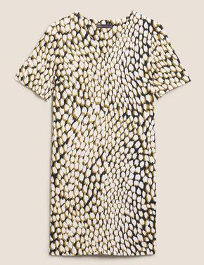 Kadın Lacivert Leopar Desenli Elbise