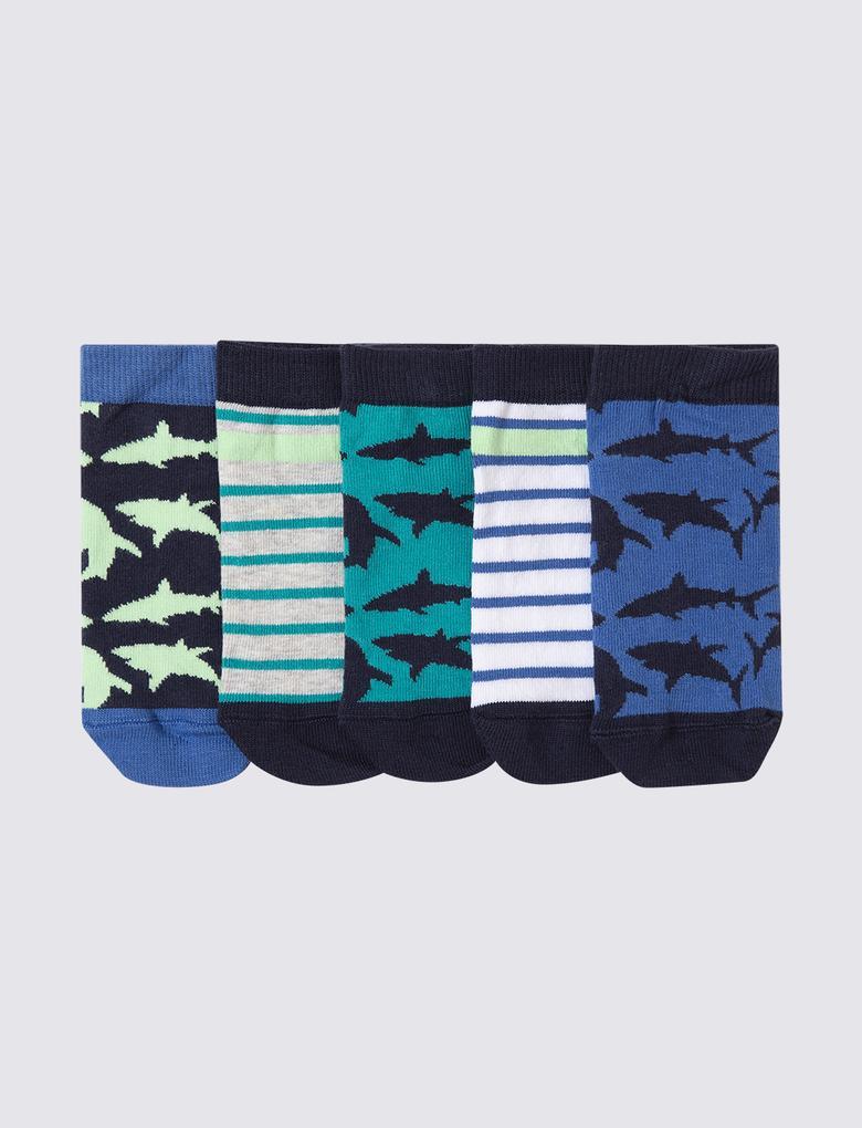 Çocuk Multi Renk 5'li Köpekbalığı Desenli Çorap Seti