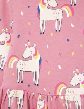 Kız Çocuk Pembe Unicorn Desenli Elbise