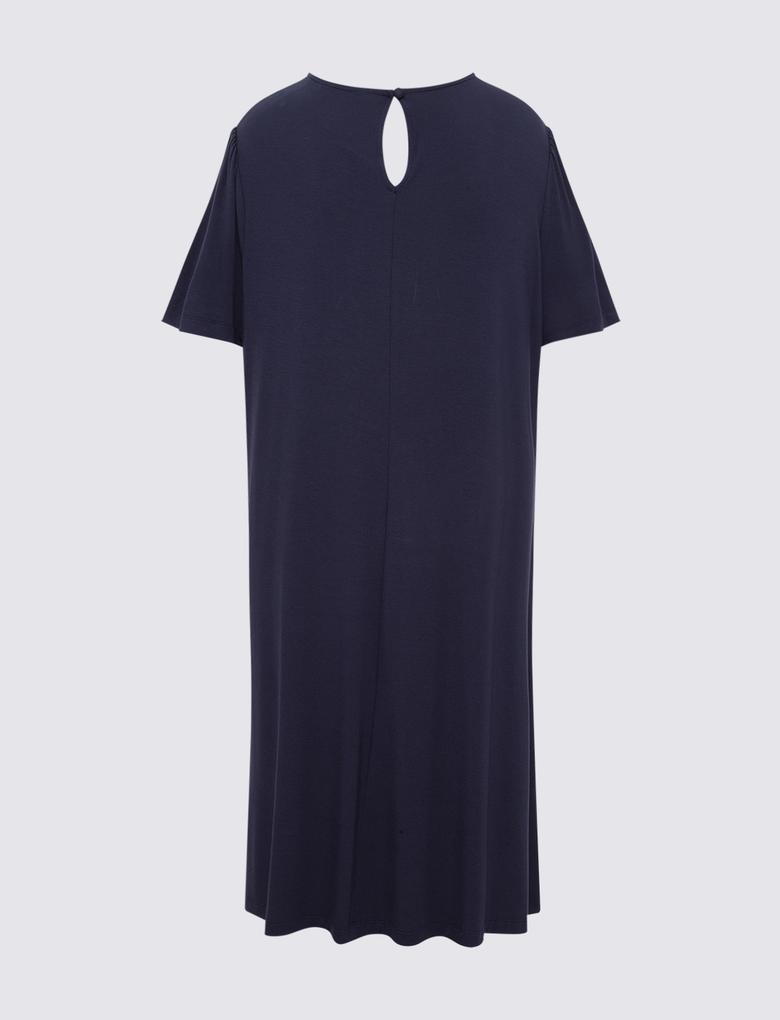 Kadın Lacivert Yuvarlak Yaka Uzun Elbise