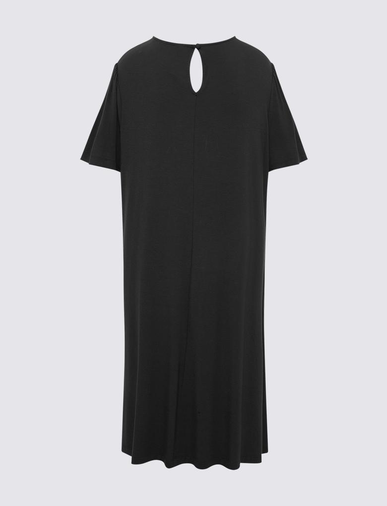 Kadın Siyah Yuvarlak Yaka Uzun Elbise
