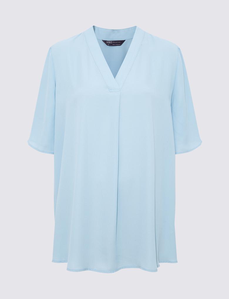 Kadın Mavi V Yaka Gömlek