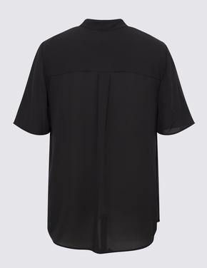 Kadın Siyah V Yaka Gömlek