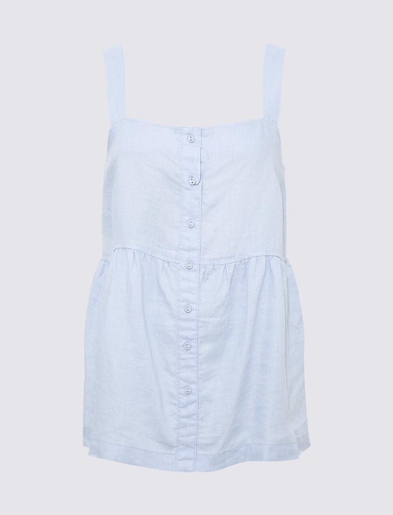 Kadın Mavi Keten Askılı Bluz