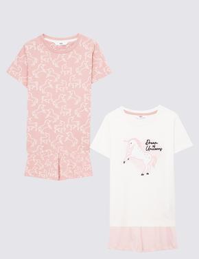 Çocuk Pembe 2'li Unicorn Desenli Pijama Takımı