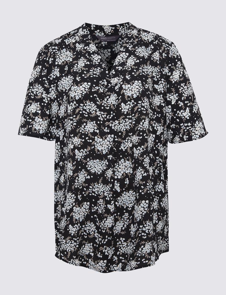 Kadın Siyah Çiçek Desenli Bluz