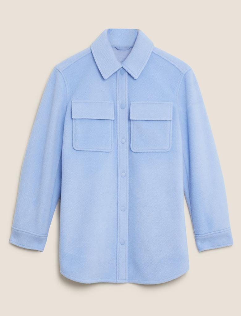 Kadın Mavi Örme Ceket