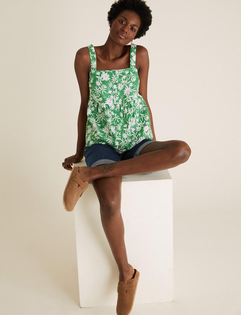Kadın Yeşil Keten Askılı Bluz