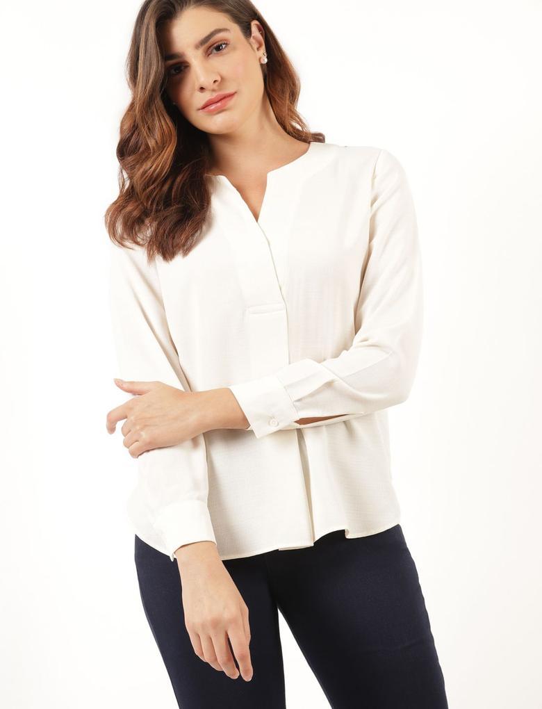 Kadın Bej Uzun Kollu Popover Bluz