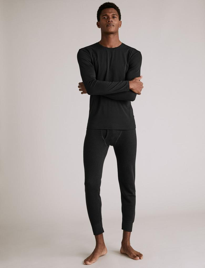 Erkek Siyah Uzun Kollu Yuvarlak Yaka Atlet