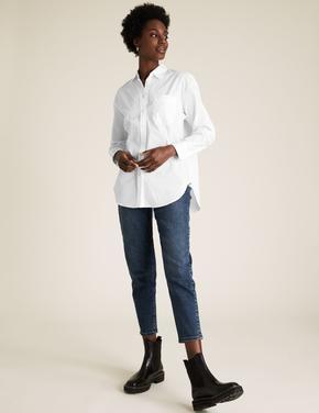 Kadın Beyaz Pamuklu Oversize Gömlek