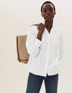 Kadın Krem Fırfır Detaylı Gömlek
