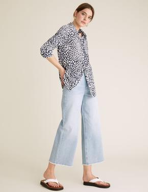 Kadın Krem Baskı Desenli Uzun Kollu Gömlek