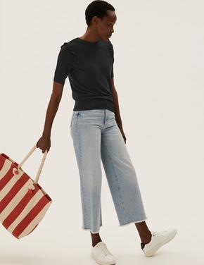 Kadın Siyah Fırfır Detaylı Örme Bluz