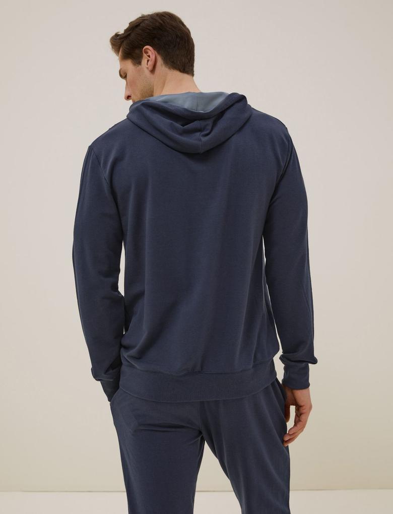 Erkek Lacivert Tencel™ Supersoft Kapüşonlu Pijama Üstü