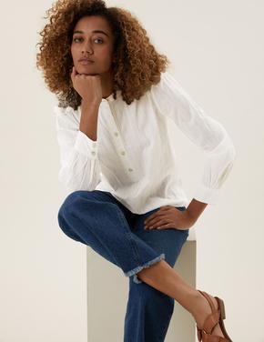 Kadın Krem Saf Pamuk Relaxed Fit Popover Bluz