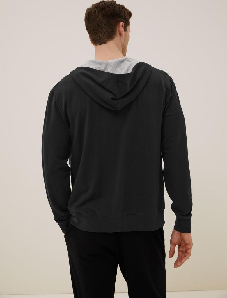 Erkek Siyah Tencel™ Supersoft Kapüşonlu Pijama Üstü