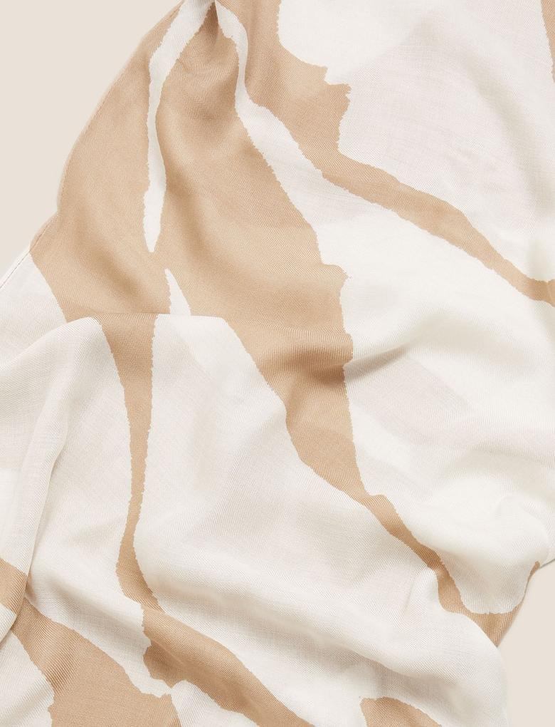 Kadın Bej Renk Bloklu Şal