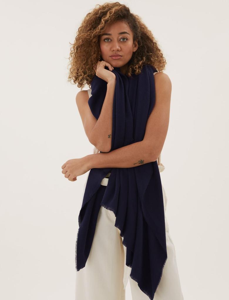 Kadın Lacivert Oversize Basic Şal