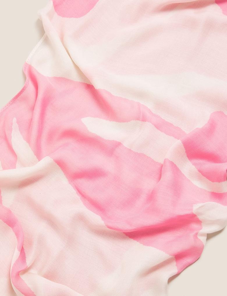 Kadın Pembe Renk Bloklu Şal