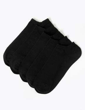 Erkek Siyah 5'li Cool & Fresh™ Trainer Çorap Seti