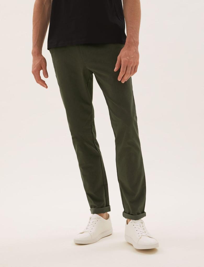 Erkek Yeşil Slim Fit Stretch Chino Pantolon