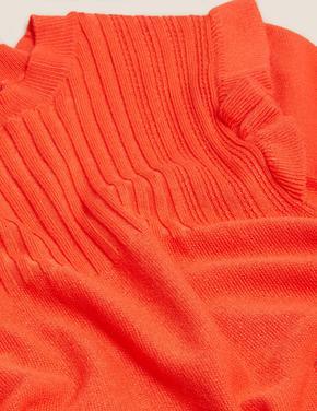 Kadın Turuncu Fırfır Detaylı Örme Bluz
