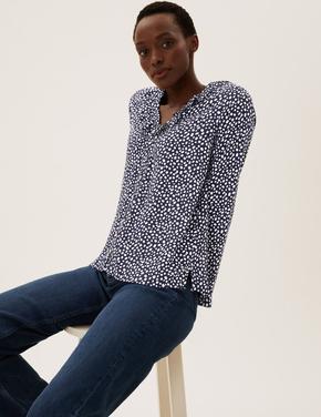 Kadın Lacivert Fırfır Detaylı V Yaka Bluz