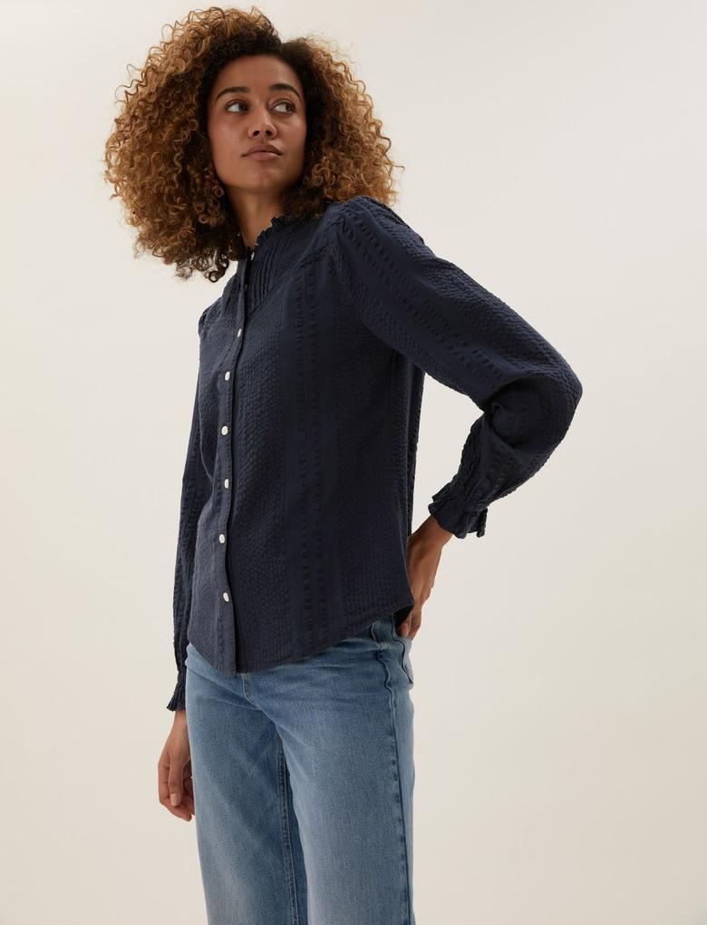Kadın Lacivert Saf Pamuk Dantel Detaylı Bluz